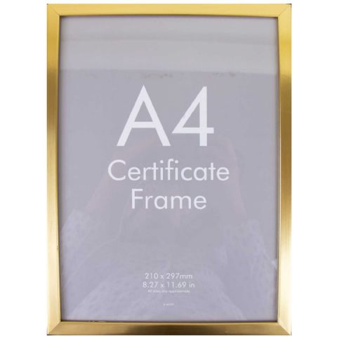 A4 Gold Safety Plastic Photo Picture & Certificate Frame